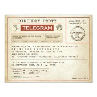 inbjudan för vintagefödelsedagtelegram