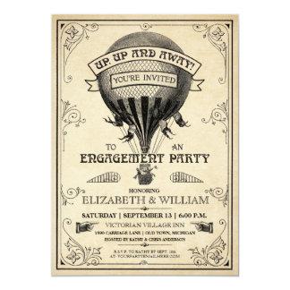 Inbjudan för vintageluftballongförlovningsfest