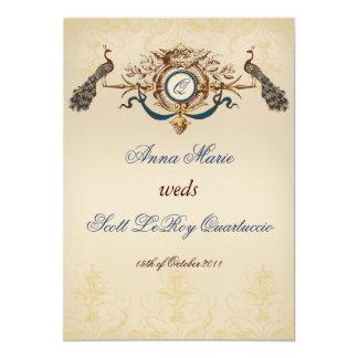 Inbjudan för vintagepåfågelbröllop 12,7 x 17,8 cm inbjudningskort