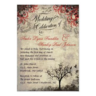 Inbjudan för vintageträdbröllop
