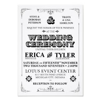 Inbjudan för vintagetypografibröllop