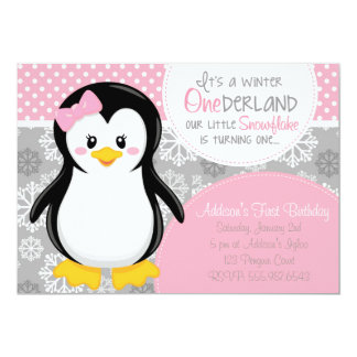 Inbjudan för vinterONEderland rosa pingvin