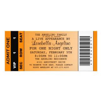 Inbjudan för VIP-biljettfödelsedag (orangen)