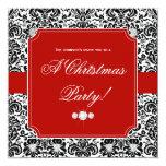 Inbjudan för vit för julparty damastast röd svart