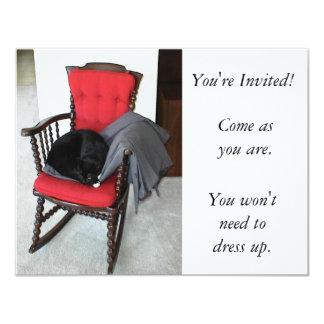 Inbjudan: Kom, som du är. Presenterar katten 10,8 X 14 Cm Inbjudningskort