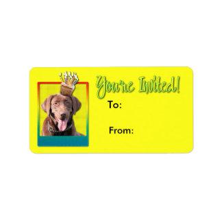 Inbjudanmuffin - Labrador - choklad Adressetikett