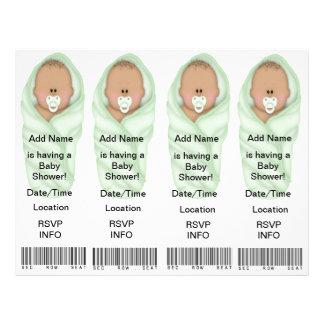 Inbjudningar för 4 baby shower - bokmärkefavörer personliga flygblad