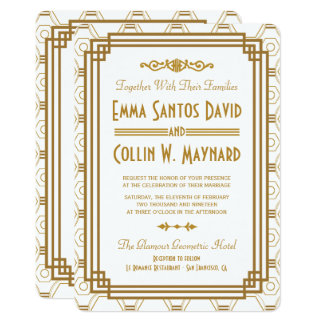 Inbjudningar för art décovitbröllop