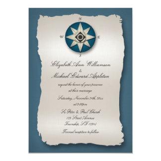 Inbjudningar för blåttkompassbröllop
