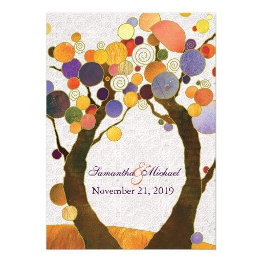 Inbjudningar för bröllop för nedgångkärlekträd mod