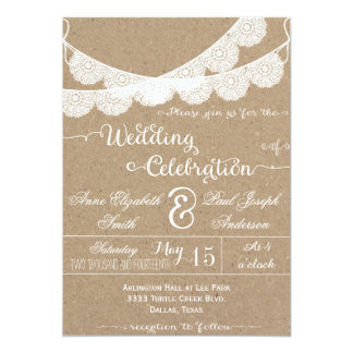 Inbjudningar för bröllop för snöreDoilies lantliga