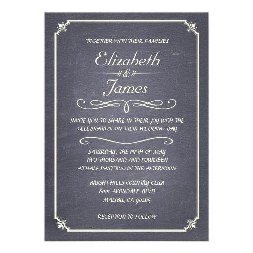 Inbjudningar för bröllop för svart tavla för silve