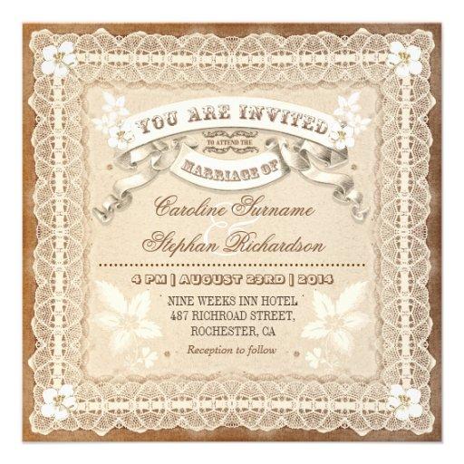 inbjudningar för bröllop för vintagesnöre typograf