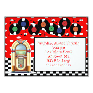 inbjudningar för födelsedag för jukebox för rulle