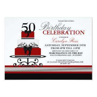 Inbjudningar för födelsedag för röd krusidulltårta