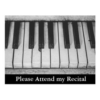 Inbjudningar för högläsning för pianohögläsning vykort