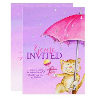 Inbjudningar för katt för stollig för flickababy