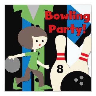 Inbjudningar för party för brunettpojkebowling