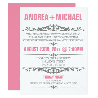 Inbjudningar för rosa- & gråttbröllopmottagande