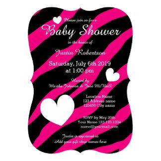 Inbjudningar för sebrarandbaby shower med hjärtor