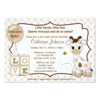 Inbjudningar för Snickerdoodle giraffbaby shower