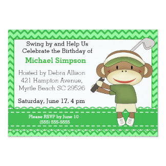 Inbjudningar för sock monkeyGolffödelsedag