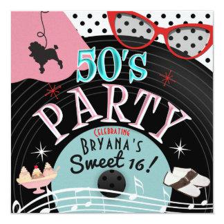 inbjudningar för temaparty för 50-tal50-talrekord