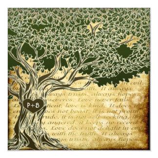Inbjudningar för vintage bröllop för landOakträd