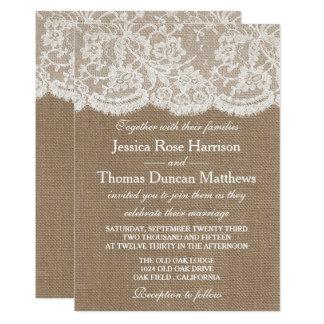 Inbjudningarna för burlap- & snörebröllopsamling 12,7 x 17,8 cm inbjudningskort