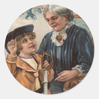 Inbördeskrig för svärd för pojke för runt klistermärke