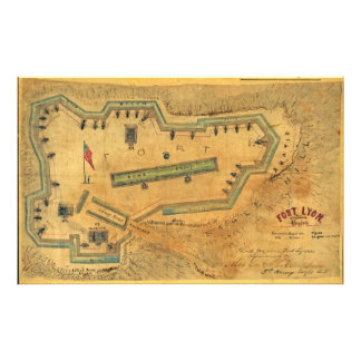 Inbördeskrigkartafort 1862 Lyon Alexandria Virgini Fototryck