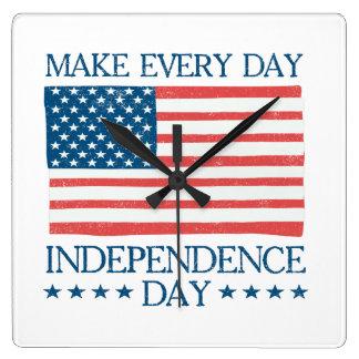 Independence day 4th Retro Juli Fyrkantig Klocka