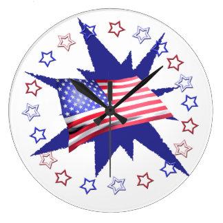 Independence daystjärnan cirklar design stor klocka