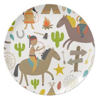 Indian and cowboy.jpg tallrik
