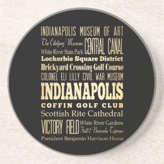 Indianapolis stad av Indiana statlig typografikons Underlägg Sandsten