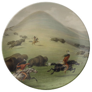 Indianer som jagar buffeln porslinstallrik