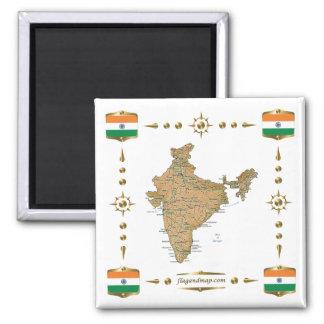 Indien karta + Flaggormagnet Kylskåps Magneter