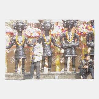 Indien kulturell showstaty av musikerkonstnärer kökshandduk
