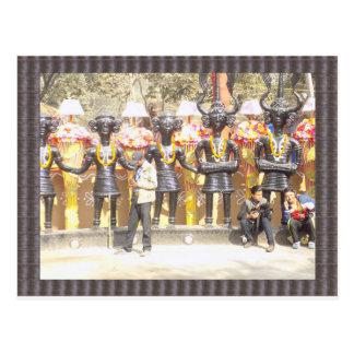 Indien kulturell showstaty av musikerkonstnärer vykort