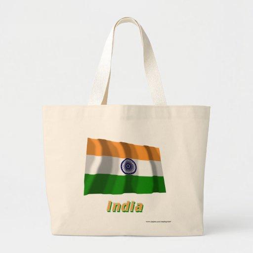 Indien som vinkar flagga med namn tygkassar