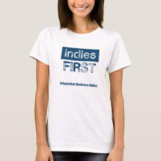 Indies först - vitt-skjorta, kvinnor tee shirt