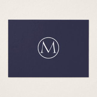 Indigoblå elegant Monogram Visitkort