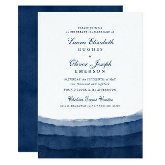 Indigoblå inbjudningar för blåttvattenfärgbröllop