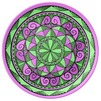 Indigoblå Mandala Porslinstallrik