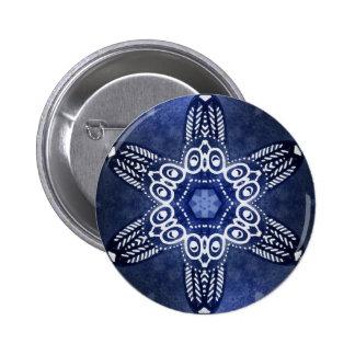 Indigoblå ugglor standard knapp rund 5.7 cm