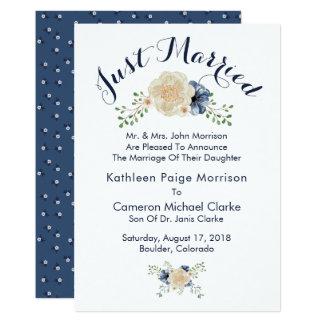 Indigoblått blått- & beigebröllopmeddelande 12,7 x 17,8 cm inbjudningskort