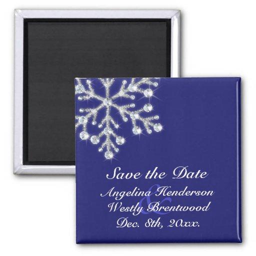 Indigoblått för vinterSnowflakespara datum magnete Kylskåps Magneter