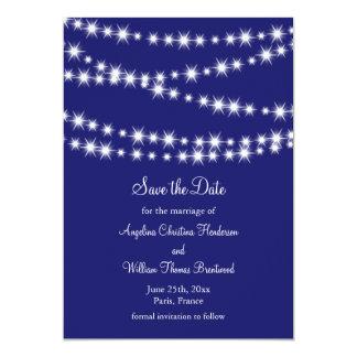 Indigoblått glimtljus sparar datera 12,7 x 17,8 cm inbjudningskort