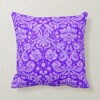 Indigoblått purpurfärgad damast kudde