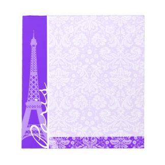 Indigoblått purpurfärgad damast; Paris; Eiffel Anteckningsblock